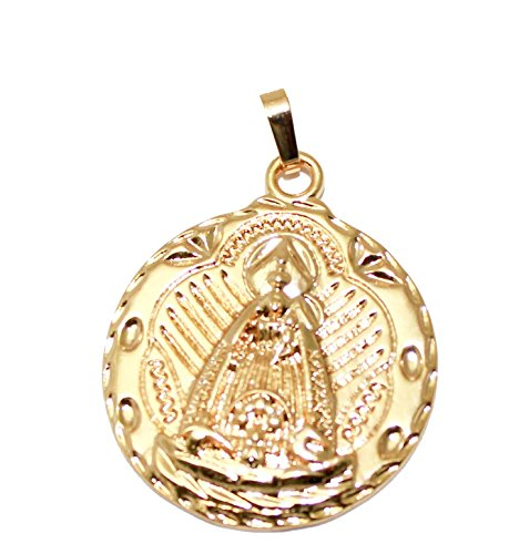 Caridad del Cobre Medal 18k Gold Plated Medalla Pendant with 22 inch Chain