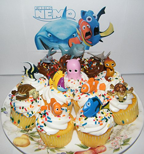 Disney Finding Nemo Figure Set of 12 Mini Cake Toppers / Cupcake Decorations Party Favors with Nemo, the 3 Sharks, Squirt Etc and Disney Dog Tag Gift!!