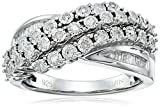 Sterling Silver White Diamond Miracle Waterfall Ring (1/3cttw, J-K Color, I2-I3 Clarity)