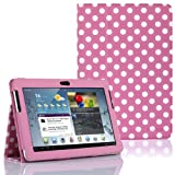 SupCase Slim Fit Folio Leather Tablet Case Cover for 10.1-Inch Samsung Galaxy Tab 2, Spotty Pink