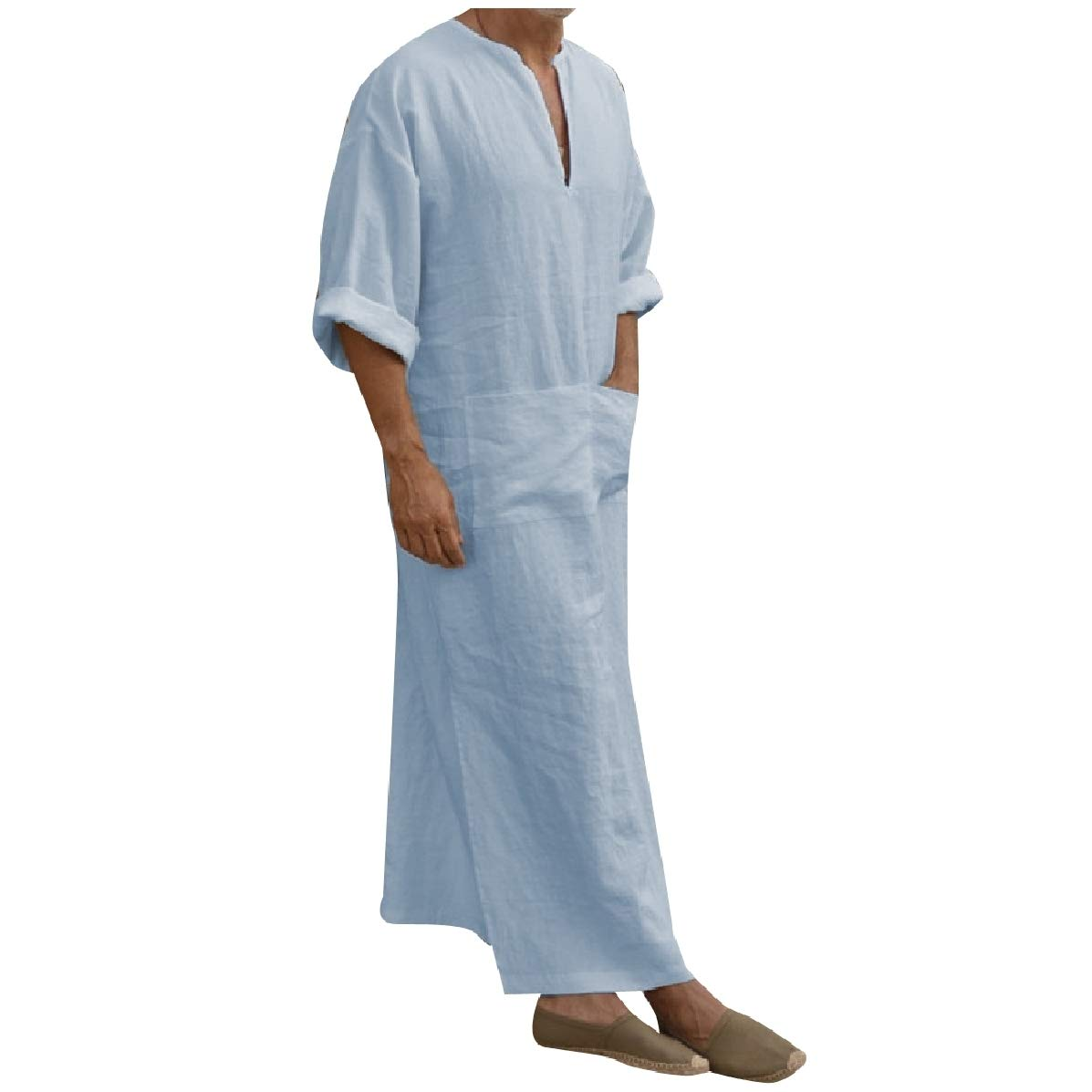 YUNY Men Middle East Kaftan Gown Cotton Shirt Muslim Islamic Kaftan Blue M