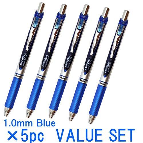 Pentel EnerGel Deluxe RTX Retractable Liquid Gel Pen,1.0mm, Midium Line, Metal Tip, Blue Ink-Value set of 5 (With Our Shop Original Product Description) …