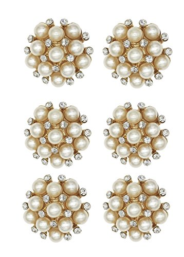 XIAOTAI SHINYTIME Pearl Rhinestone Buttons 6 Pieces gold