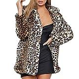 Kemilove Women Warm Long Sleeve Parka Faux Fur Coat Overcoat Fluffy Top Jacket Leopard