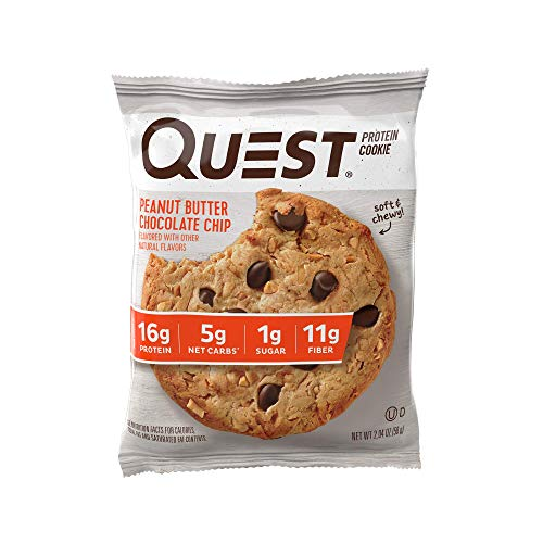 Quest Nutrition Peanut Butter Chocolate Chip Protein Cookie, High Protein, Low Carb, Gluten Free, Soy Free, 12 Count
