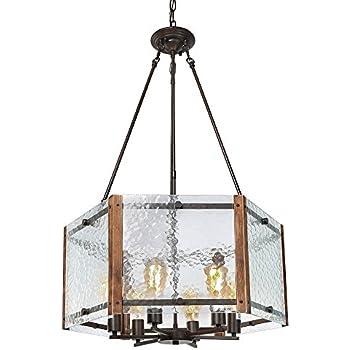 LALUZ Wood Chandeliers Rustic Pendant Lighting 6-light Kitchen ...