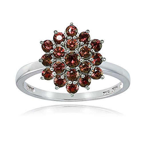 Sterling Silver Genuine Garnet Flower product image