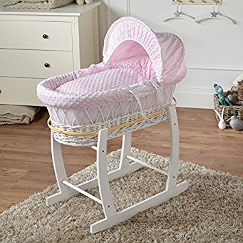 Clair de Lune Dimple White Wicker Moses Basket & White Rocking Stand (Pink)