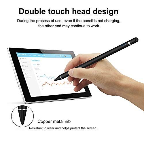 قلم ستايلس 2 في 1 موديل Active Stylus قابل لإعادة الشحن برأس رفيع Zspeed Stylus متوافق مع جميع أجهزة Apple iPad / iPhone / iPad Pro / iPhone X ، Android Windows Capacitive touchphone & Tablet (أسود)