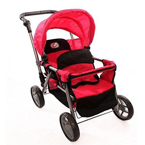 Pink Doll Twin Tandem Stroller with Adjustable Handle for Ages 4+ (Doll Baby Stroller Combo)