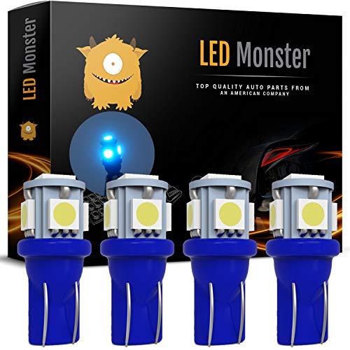 LED Monster 4pcs Ice Blue T10 194 168 Wedge 5-5050-SMD LED License Plate Light Lamp Bulb 12V (5 SMD)