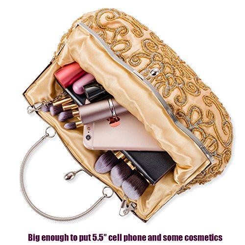 Gold Evening Shoulder Elegant Clutch Purse Bag Classic Handbag Women Luxurious Ac Bag 5vxgHXgqw