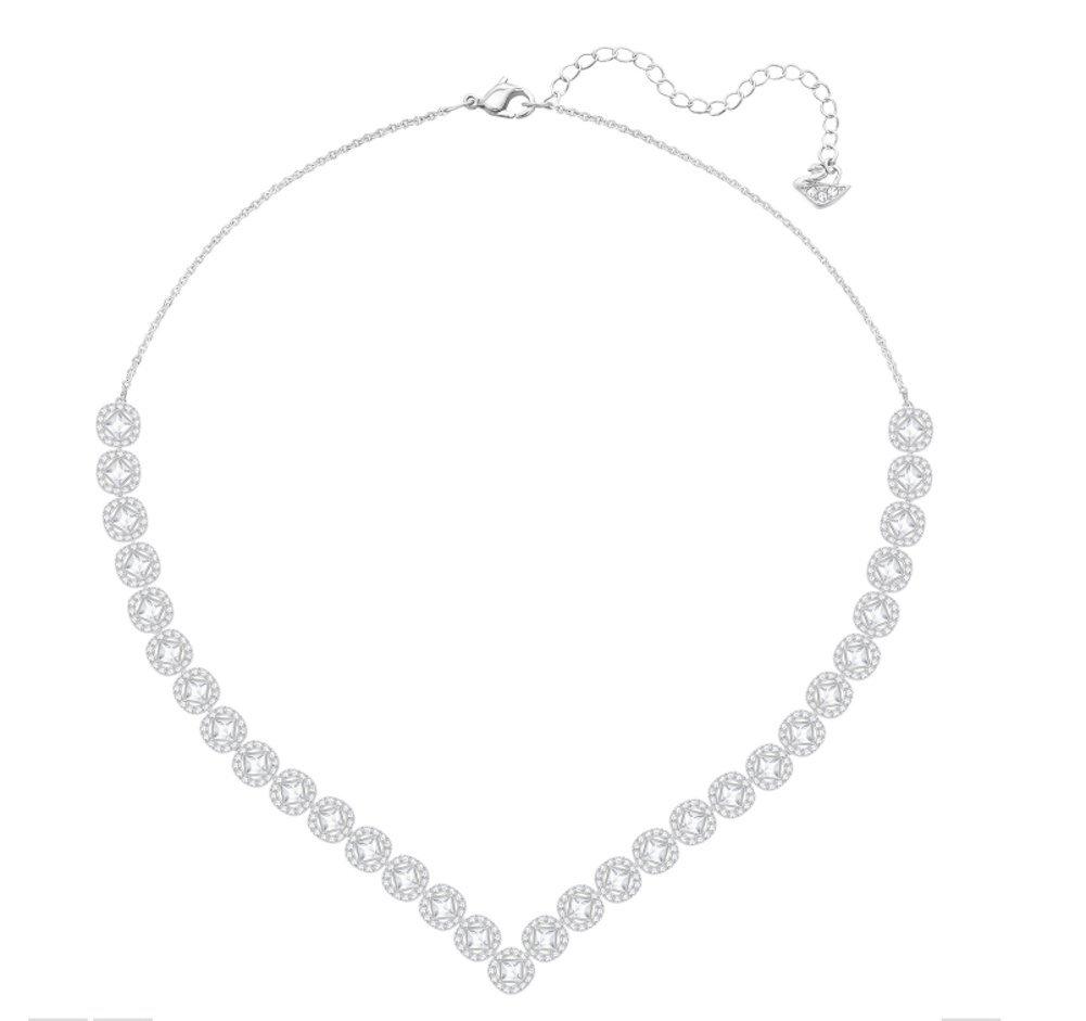 Swarovski Crystal Large White Angelic Square Rhodium-Plated Necklace