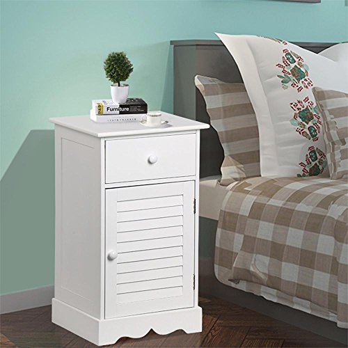 Yaheetech Storage Cabinet End Table Nightstand One Drawer with Slatted Door White (30 Nightstand)