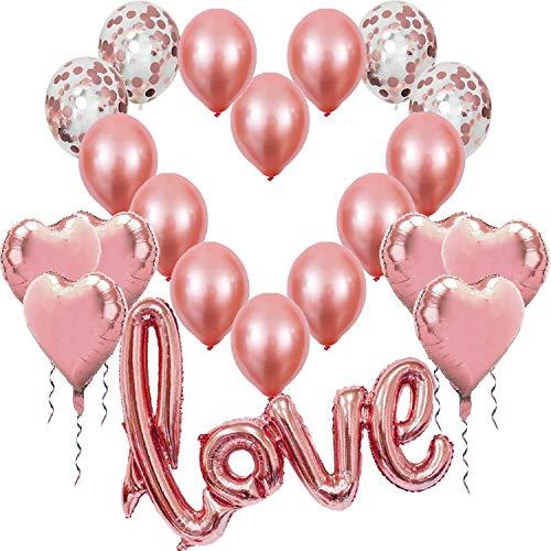 Kit Romántico de Globos Rosa Oro Dorado, Globo Love XXL Helio o Aire,6 Corazón Rosegold,4 Globos Confeti,10 Látex, Decoración Romantica Día de San Valentín Bodas Nupcial Aniversario y Compromiso