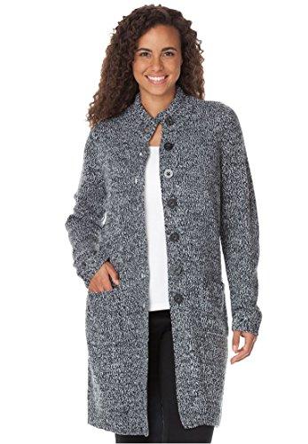 Woman Within Women's Plus Size Marled Sweater Jacket,Black White,Medium