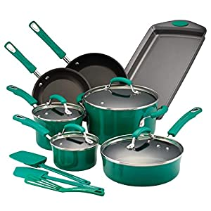 Rachael-Ray-14557-Brights-Nonstick-Cookware-Pots-and-Pans-Set-14-Piece-Fennel-Gradient