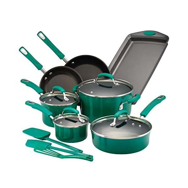 Rachael Ray Brights Nonstick Cookware Pots and Pans Set, 14 Piece, Fennel Gradient 1