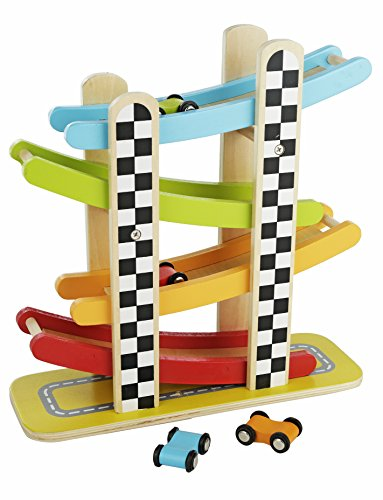 - Colorful Wood Race Track Ramp with 4 Wooden Race Cars - Solid Wood Educational Baby Toy for Toddler Boys and Girls Age 18-24 Months, 2 Years and Up - Classic Early Development Vehicle Playset Toy