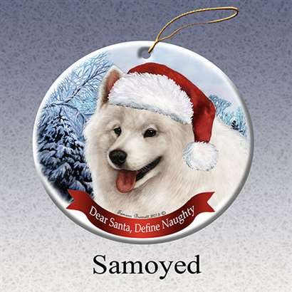 (Holiday Pet Gifts Samoyed Santa Hat Dog Porcelain Christmas Tree Ornament)