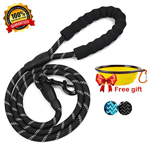 fanson 5ft Reflective Rope Dog Leash for Night Safety Pet Supplies for Medium or Big Dogs | Heavy Duty String for Walking, Hiking, Running, Training, Eco-Friendly, Durable, Stress-Free (black) ()