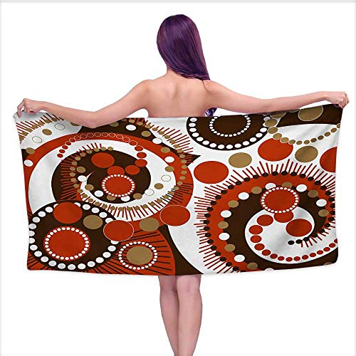 (Onefzc Beach Chair Towel Geometric Retro Colors Abstract Spiral Dots and Lines Modern Waves Artwork for Family Guest Bathrooms Gym W40 x L10 Vermilion Caramel)