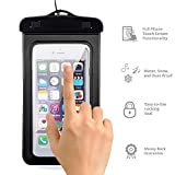 "* Dry Bag * for All Smartphones under 6"" Inch, Waterproof Underwater Dry Bag, Touch Responsive Transparent Windows,Watertight Sealed System for iPhone Android Samsung (Black)"