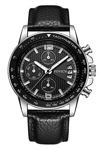 FOVICN Black Leather Strap Quartz Analog Watches for Men Chronograph Waterproof Sports Wristwatch for -
