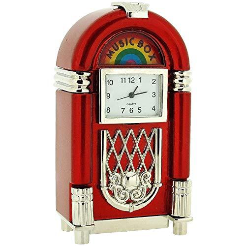(Miniature Juke Box Novelty Silver & Red Tone Metal Collectors Clock 0414)