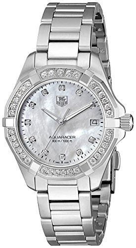 TAG Heuer Women's WAY1314.BA0915 300 Aquaracer Diamond-Accented Stainless Steel Bracelet Watch