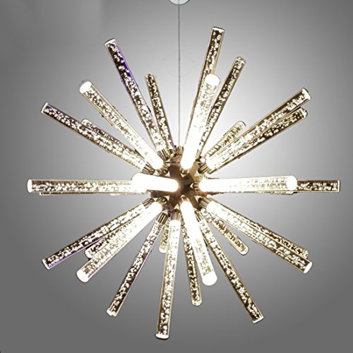 Onfly Molecular Energy Ball Crystal Glass Chandelier Ambient Light,Bubble Column,Artistic Nature Inspired, Pendant Lamp,ceiling Hanging Lamp,110-120V 220-240V (Color : Warm light, Size : 32cm) (Art Deco Glass Column)