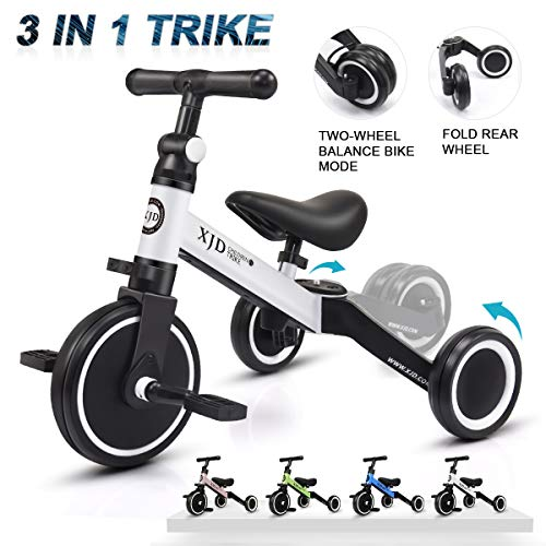 XJD 3 in 1 Kids Tricycles for 1-3 Years Old Kids Trike 3 Wheel Bike Boys Girls 3 Wheels Toddler Tricycles Toddler Bike Trike Upgrade 2.0 (White) (Best Bike Helmet For 1 Year Old)
