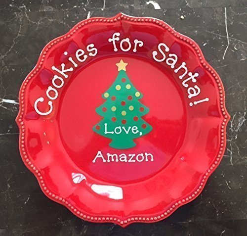 Personalized Cookies for Santa Red Plate