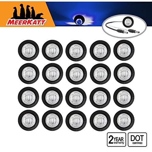 Meerkatt (Pack of 20) 3/4 Inch Mini Round Clear Lens Blue LED Bullet Waterproof Button Small Side Marker Clearance Lamp Flush Mount w/Plug Truck Camper Jeep Trailer Van Boat Bike 12v DC Resin 3LED-DC