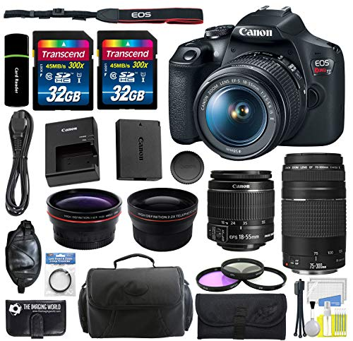 Canon EOS Rebel T7 Digital SLR Camera with EF-S 18-55mm f/3.5-5.6 is II Lens and EF 75-300mm f/4-5.6 III Lens + Wide Angle Lens + Telephoto Lens + 64GB Memory + Bag + Filters + Accessories Bundle