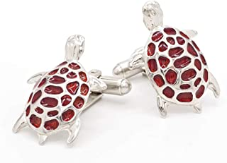 product image for JJ Weston Red Turtle Cufflinks. Made in The USA.