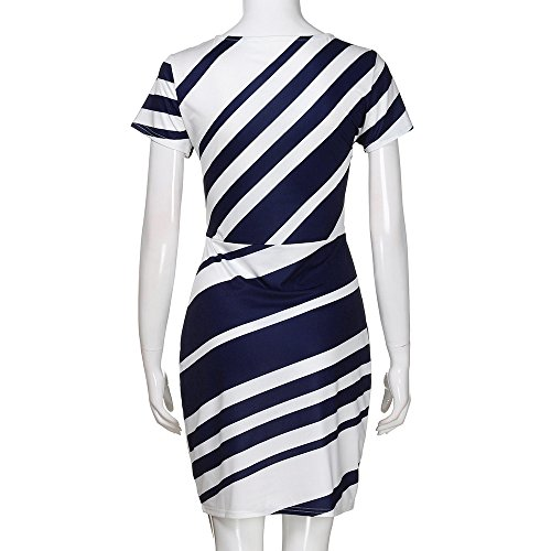 Produp Femmes Travail Soirée À Rayures Pour Robe Crayon Manches De Blue Casual Robes Courtes rwRxCnqr