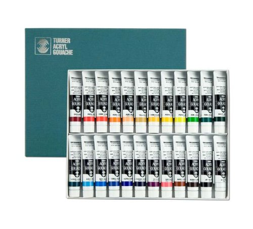 Turner Acrylic Paint Set Artist Acryl Gouache - Super Concentrated Vibrant Acrylics, Fast Drying, Velvety Matte Finish - [Set of 24   20 ml Tubes]