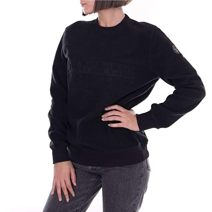 in vendita 9f0a9 09dc8 Napapijri Felpa girocollo Donna nera: Amazon.co.uk: Clothing