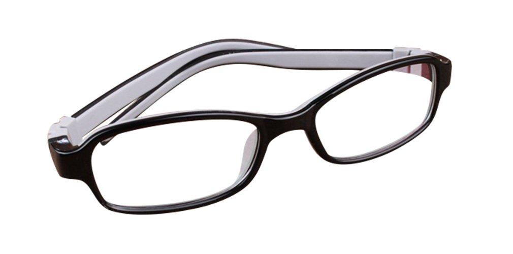 Deding Kids Optical Eyeglasses No Screw Bendable with Stringa and Case ,Children Tr90&silicone Safe Flexible Glasses Frame (Black Gray)