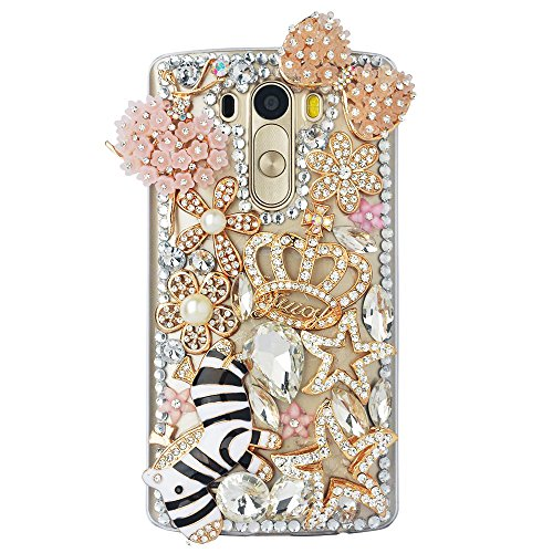 Pull Some Bow (ZTE Grand X MAX 2 Case, ZTE Zmax Pro Case, STENES 3D Handmade Luxury Crystal Zebra Crown Bowknot Dance Ballet Flowers Girl Sparkle Rhinestone Design Cover Bling Case with Retro Bows Dust Plug - Pink)