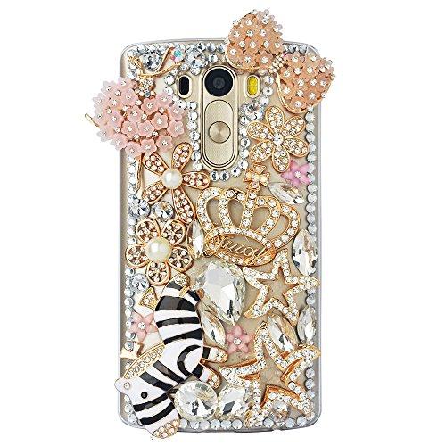 STENES LG Harmony Case - STYLISH - 100+ Bling - 3D Handmade Zebra Crown Bowknot Dance Ballet Flowers Girl Design Protective Case For LG Harmony/LG K20 V (VS501) / LG K20 Plus/LG Grace LT - Pink