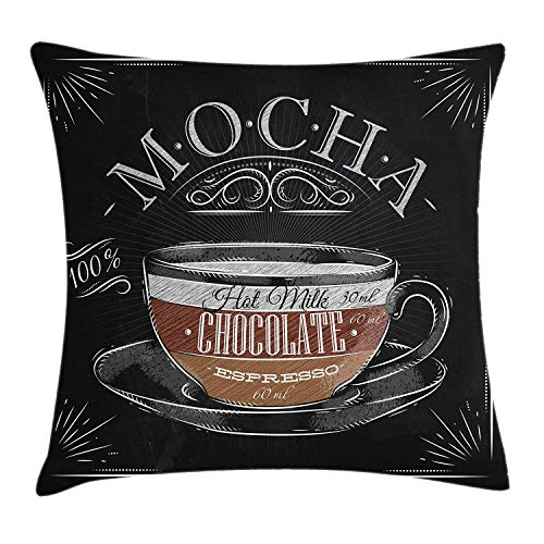 (Queolszi Coffee Throw Pillow Cushion Cover, Mocha Cup Hot Chocolate Espresso Old Fashioned Italian Chalkboard Design, Decorative Square Accent Pillow Case, 18 X 18 inches, Black Brown Pale)