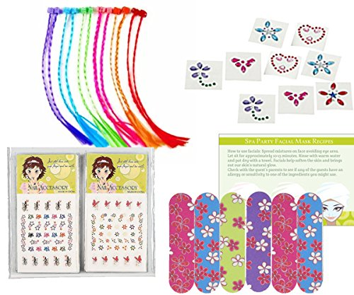 Party Pack Decal (Spa Party Supplies for Girls - MINI Emery Boards (12), Colored Hair Clip Braids (12), Body Jewels (12), Nail Decal Sets (12), Pink Cello Bags (12) and Facial Recipes, Total 61 Pieces)