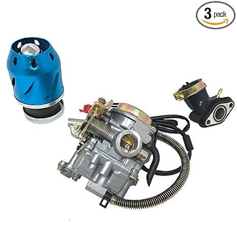 "Amazon com: COMBO: 50cc Carburetor, Air Filter ""Turbine"", Intake"