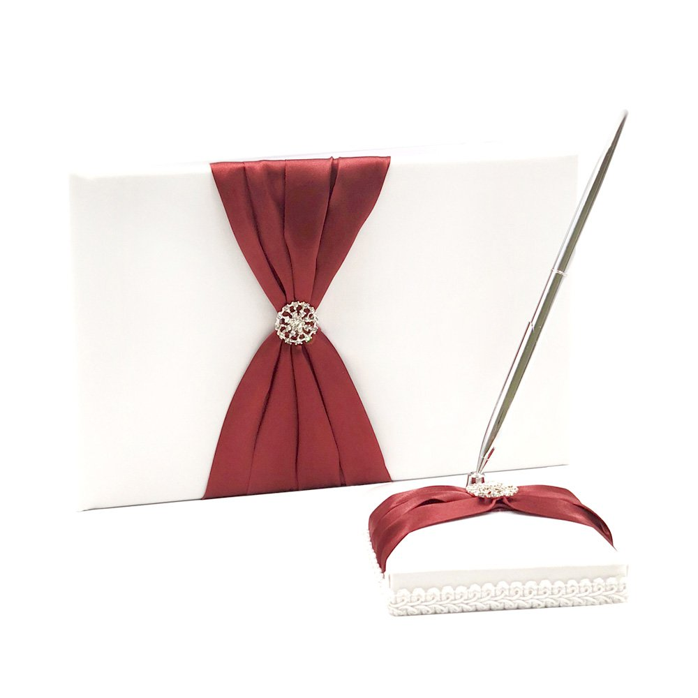 Abbie Home Wedding Guest Book + Pen Stand + Sign Pen Rhinestone Party Favor (Burgundy)