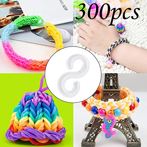 Woven Rubber Band Bracelet,Multicolored Transparent S Clip Buckle Small Buckle for Kids Adults (300PCS)
