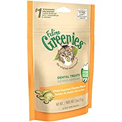 FELINE GREENIES Dental Treats for Cats Oven Roasted Chicken Flavor 2.5 oz.