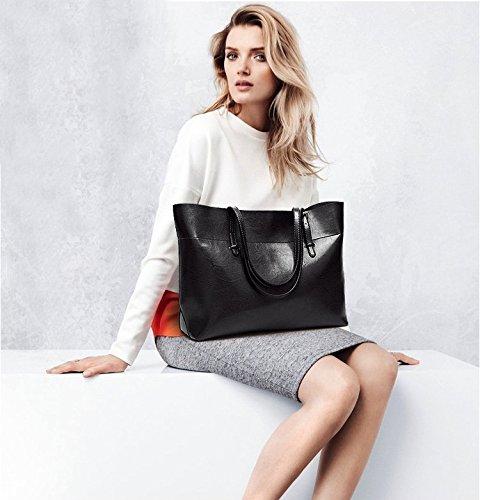 Women's Vintage Fine Fibre Genuine Leather Bag Tote Shoulder Bag Handbag Model Sie Black by CIR (Image #6)
