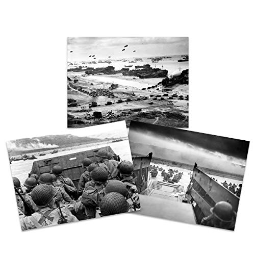 War WWII USA Troops Landing Omaha D-Day 75th Anniversary Wall Art Print Large Poster Home Decor Premium Pack of 3 18X24 inch